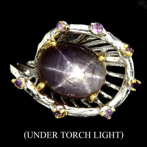 Серебряное кольцо Звёздчатый Рубин & Аметист