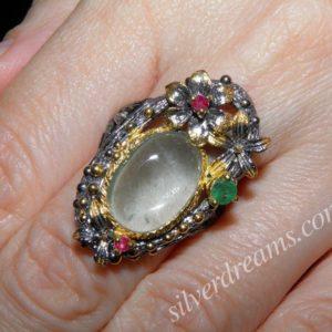 Серебряный перстень Аквамарин-Изумруд-Рубин