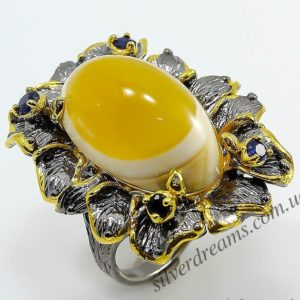 Серебряное кольцо с огромным натуральным агатом