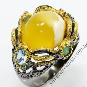 Дизайнерское серебряное кольцо Агат-Топаз-Изумруд