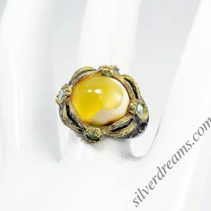 Серебряное кольцо Агат-Топаз-Изумруд