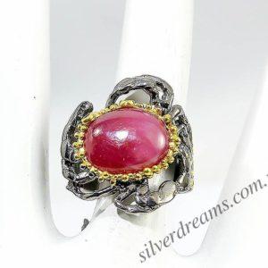 Серебряный перстень с крупным гладким рубином