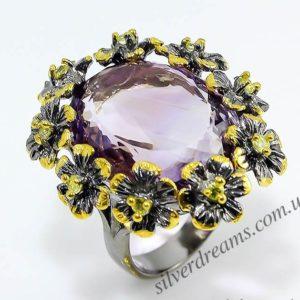 Коктейльный перстень из серебра с аметрином