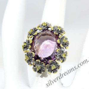 Аметриновое кольцо из серебра