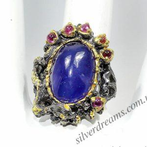 Серебряное кольцо с огромным сапфиром