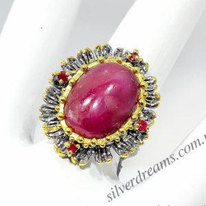 Серебряное кольцо с натуральным гладким рубином