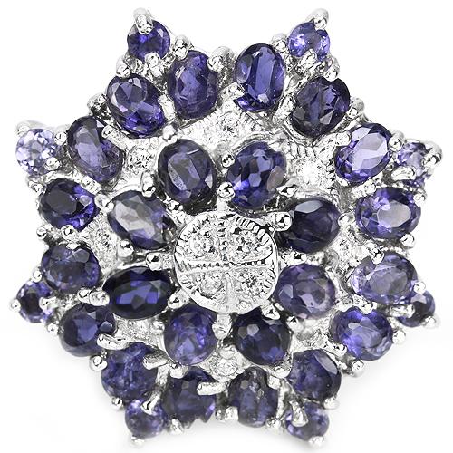 Серебряное кольцо с натуральными иолитами