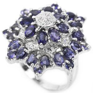 Иолитовое кольцо из серебра