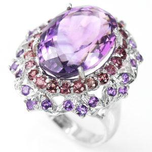 Серебряное кольцо с крупным натуральным аметистом