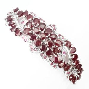 Рубиновый браслет из серебра