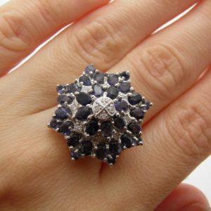 Серебряный перстень с иолитами
