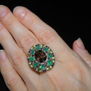 Серебряное кольцо с раухтопазом агатом хризолитом
