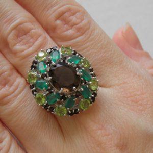 Серебряное кольцо Раухтопаз-Агат-Хризолит