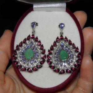 Серьги-люстры из серебра Изумруд-Танзанит-Родолит