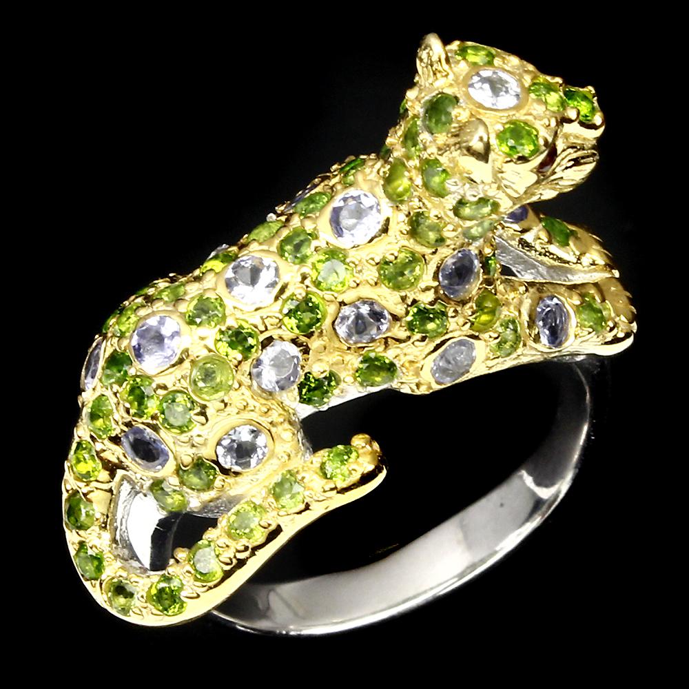 Серебряное кольцо Танзанит-Диопсид-Родолит