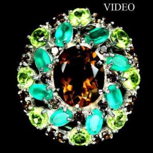 Коктейльное кольцо из серебра Раухтопаз-Агат-Хризолит