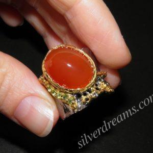 купить серебряное кольцо с натуральным сердоликом