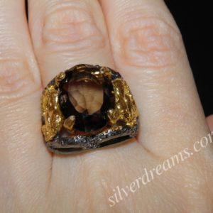 Винтажное кольцо из серебра с раухтопазом