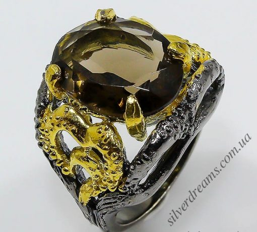 Дизайнерское кольцо из серебра с раухтопазом