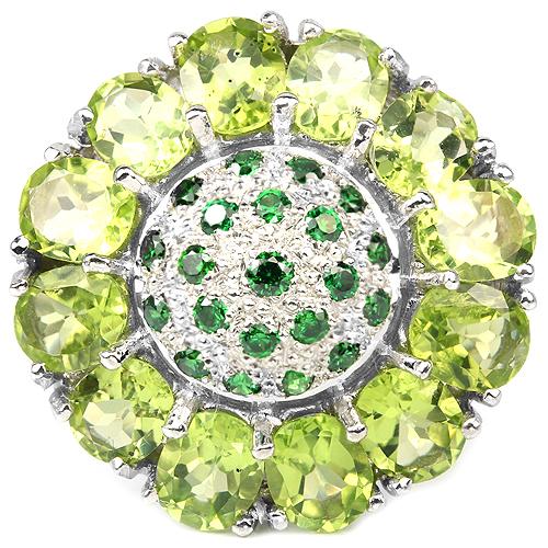 Серебряное кольцо с натуральным хризолитом