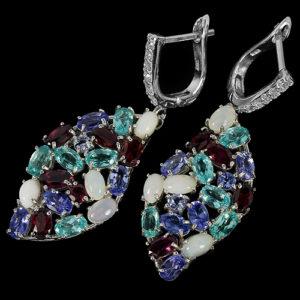 Серебряные серьги Опал-Апатит-Танзанит-Родолит