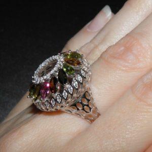 Турмалиновый перстень из серебра