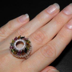 Турмалиновое кольцо из серебра