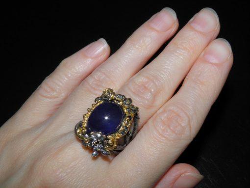 Серебряное кольцо с крупным натуральным сапфиром