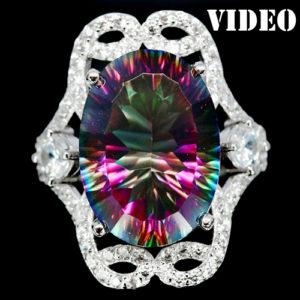 Серебряное кольцо с радужым кварцем