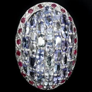 Серебряное кольцо Танзанит-Рубин