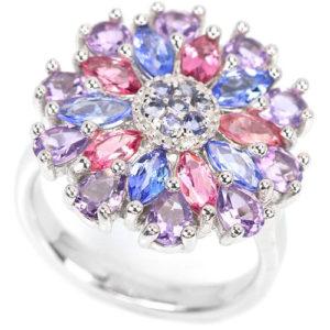 Серебряное кольцо Танзанит-Рубеллит-Аметист