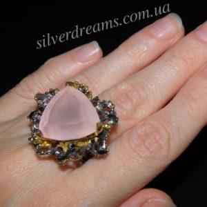 Купить кольцо с розовым кварцем