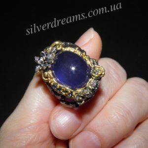Сапфировое кольцо из серебра
