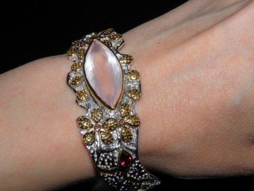 Авторский серебряный браслет с розовым кварцем