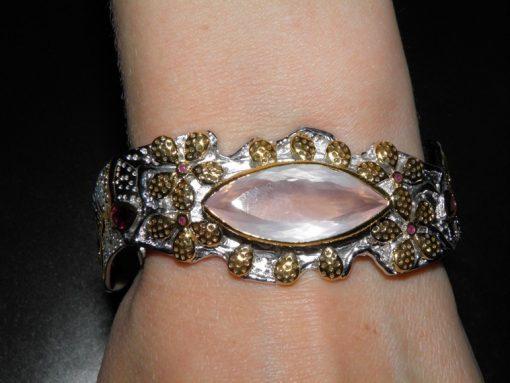 Дизайнерский браслет с крупным розовым кварцем