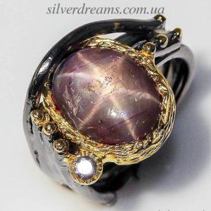 Серебряный перстень с крупным звёздчатым рубином