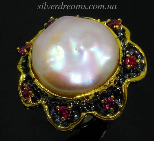 дизайнерский перстень с натуральным барочным жемчугом