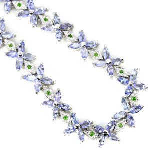 Серебряный браслет Танзанит-Хромдиопсид
