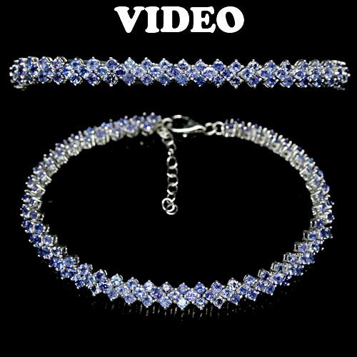 серебряный браслет с танзанитами
