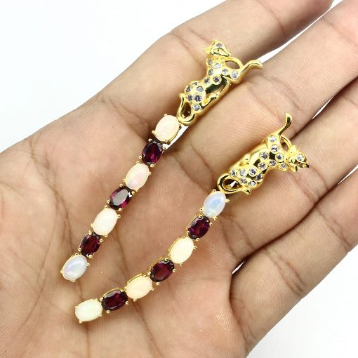 Серебряные серьги Опал-Родолит-Танзанит