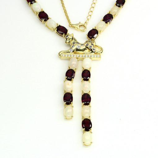 Серебряное ожерелье Опал-Родолит-Танзанит