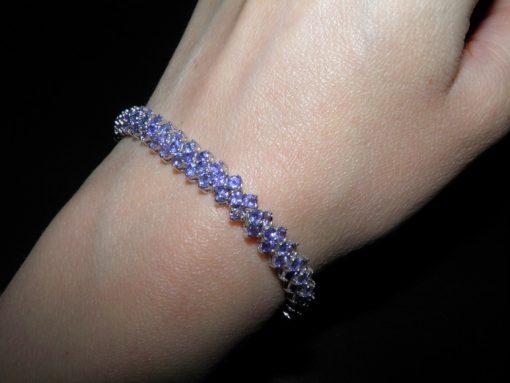 Танзанитовый браслет из серебра