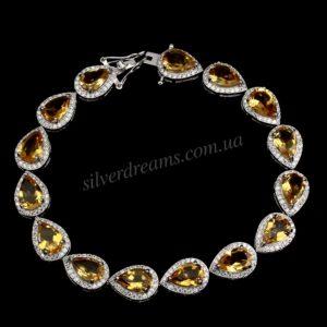Цитриновый браслет из серебра
