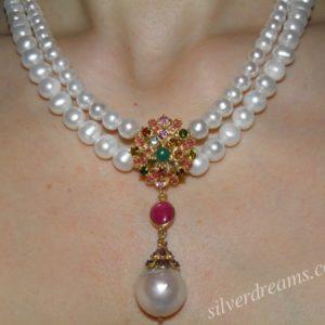 Серебряное ожерелье Жемчуг-Турмалин-Рубин