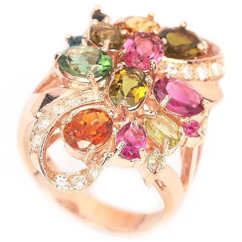 Серебряное кольцо с турмалинами (в розовом золоте)