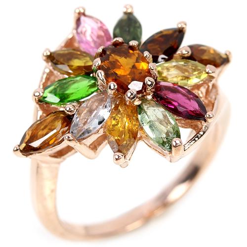 Серебряное кольцо с турмалинами в розовой позолоте