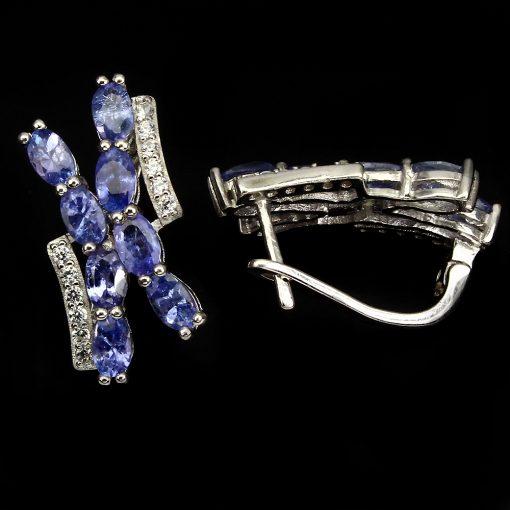 танзанитовые серьги из серебра