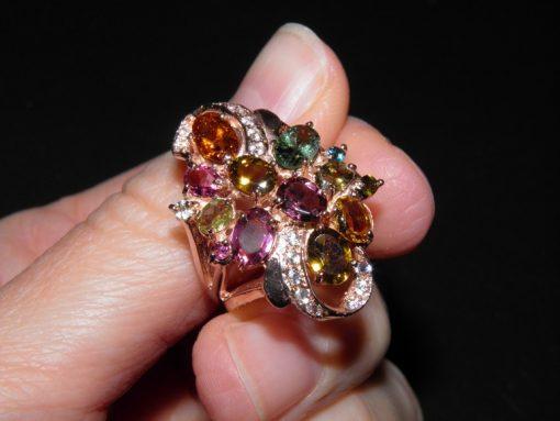 серебряное кольцо с натуральным турмалином