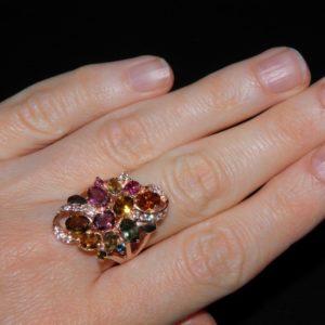 кольцо с турмалином в серебре с позолотой