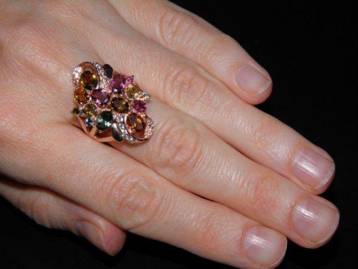 турмалиновое кольцо из серебра в розовом золоте